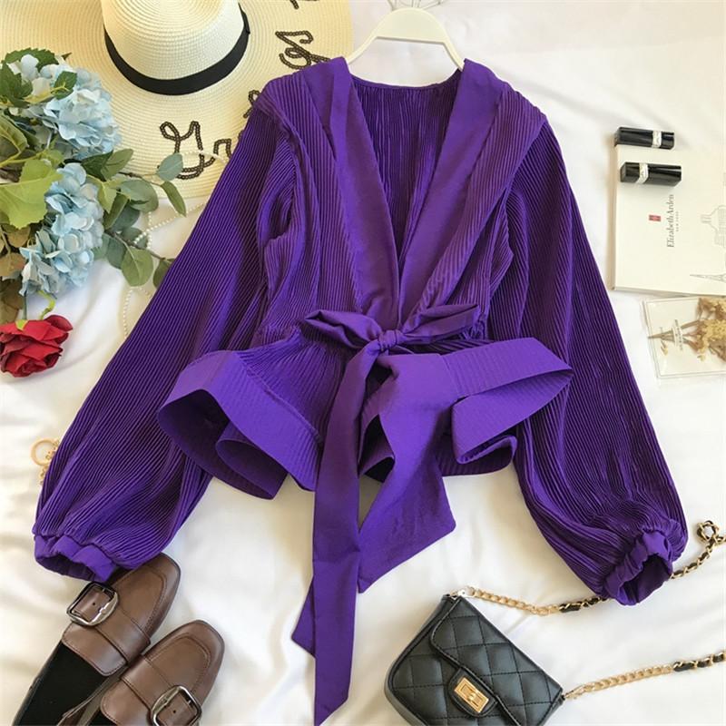 Nefloe ruchado plisado volantes blusa faja vintage grace mujeres blusa 2020 primavera otoño nueva moda elegante cuello en v camisa 69273 mx200407