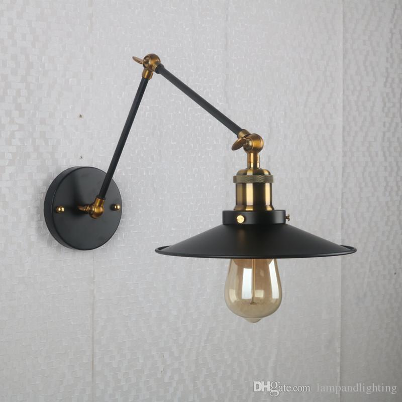 빈티지 로프트 블랙 금속 벽 램프 산업용 회전 암벽 벽 라이트 홈 실내 벽 Sconce 침대 옆 여라 발코니 조명 바 카페