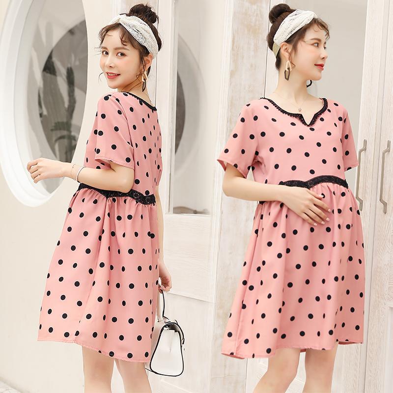 6041 # vestiti di maternità estate abito elegante in cotone Dot manica corta allentato per le donne incinte abito da mamma