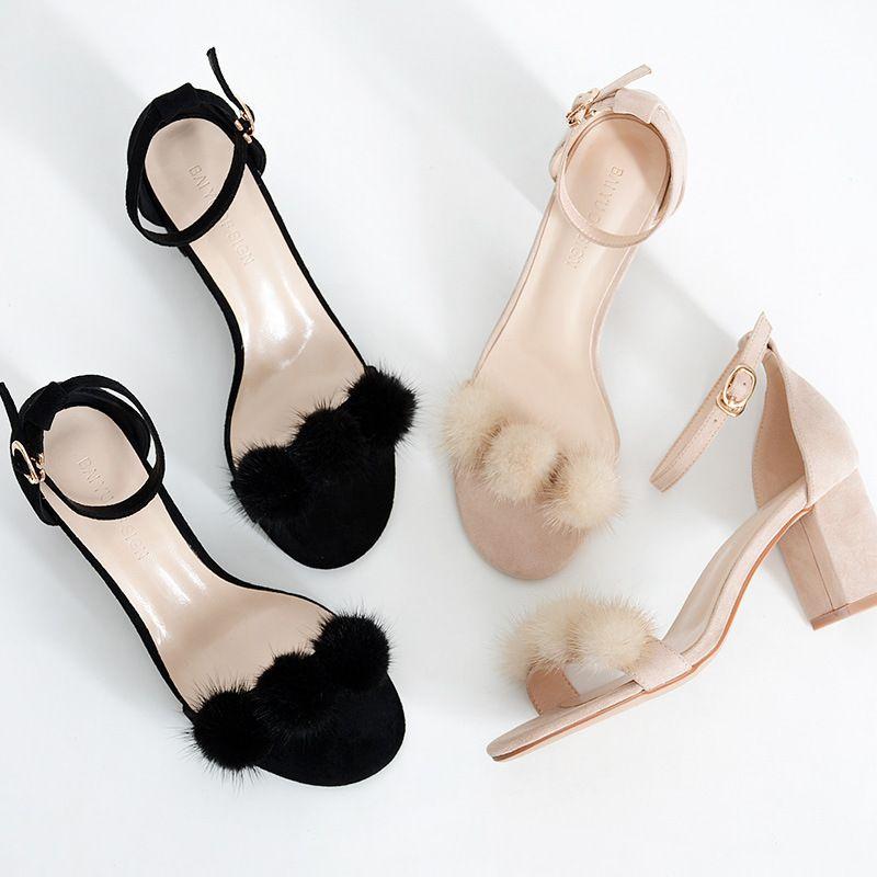 Kadınlar Sandalet Kadın Kadın Yaz Flock Toka 6.5cm Kalın topuk Rahat Sandalet Bayan Geçmeli Kadınlar Sandalias Ayakkabı