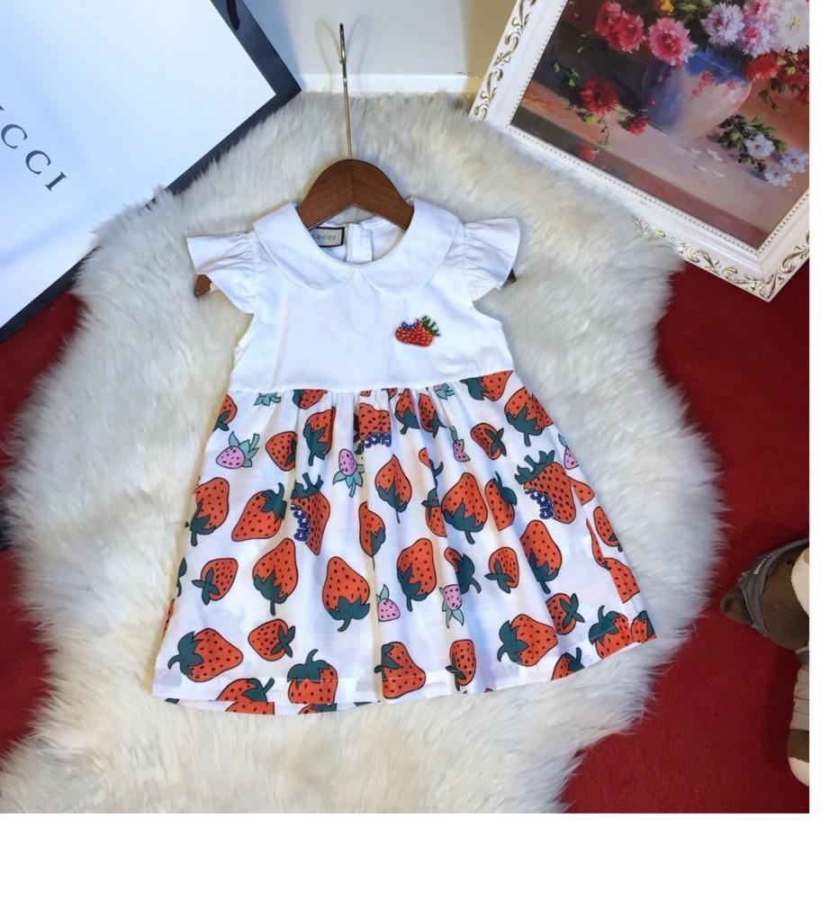 Yaz Küçük Kızlar Prenses Günlük Moda kısa kollu elbise Çilek baskı yaka yay aksesuarları 031413 giyiniyor