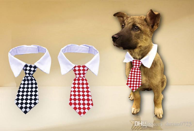 2018 collare Hot New Pet Dog Cat Striped Tie Bow Cute Dog cravatta Wedding cucciolo regolabile rosso / blu / giallo trasporto libero