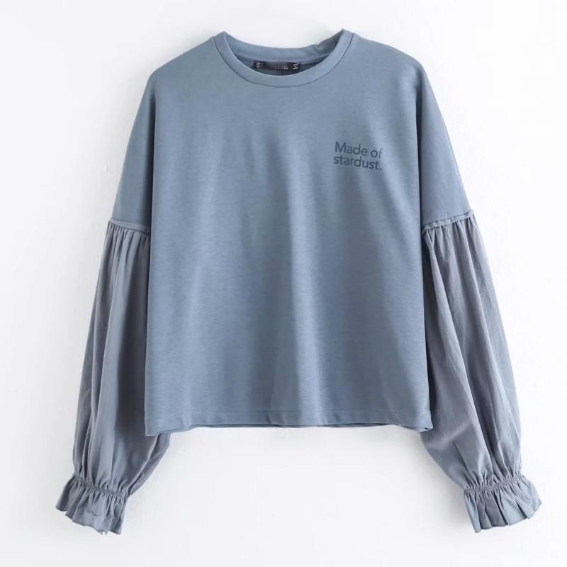 2020 Новых Женщины писем случайной свободных sweatershirts дама основных лоскутного фонарь рукав толстовка шикарного отдых пуловеры топы H130