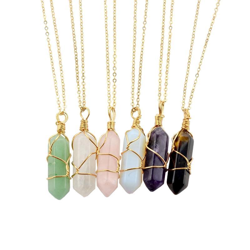 Kristal kolye Altıgen şekil Kadınlar Tel Wrap Takı Hediyesi için Altın Gümüş Zinciri ile Chakra Doğal Taşlar Şifa Noktası kolye kolyeler