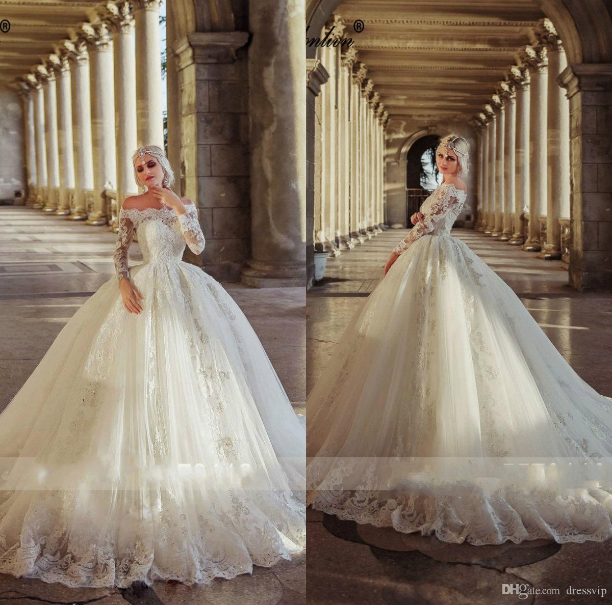 Luxus Arabisch lange Ärmel Puffy Ballkleid Brautkleider Sweep Zug weg von der Schulter 2020 Land Brautkleider