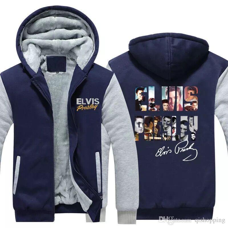 Elvis presley Hoodie Zipper Coat Winter Fleece Unisex Thicken Jacket Sweatshirts