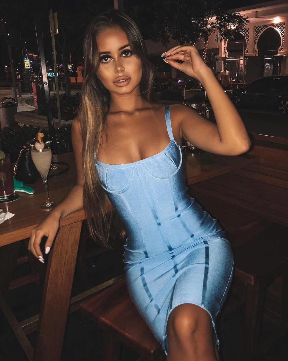 Nouvelle arrivée Sexy Backless Bleu Robe Bandage Designer Fashion Robe