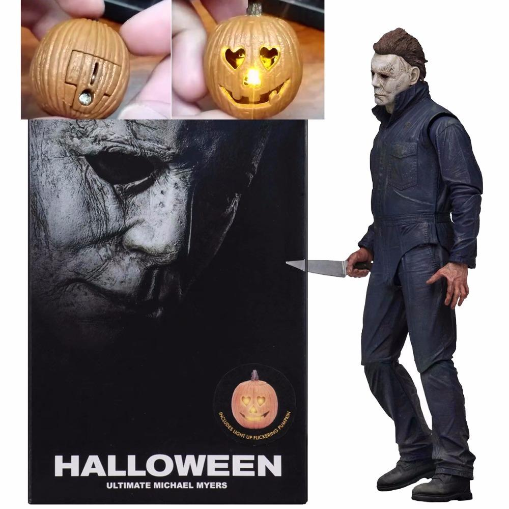Pumpkin With Led Light Halloween Neca Ultimate Michael Myers Action Figure Collectable Model Toy Doll Gift 18cm Y190604
