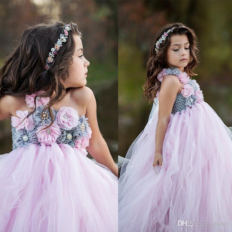 Abiti da sposa a fiori spalla rosa ragazze appliques senza spalline in tulle lunghezza del pavimento fiore appliques ragazze abiti per matrimoni ball gown