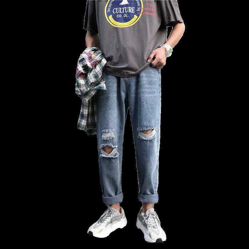 Мода Streetwear Мужские джинсы Vintage Синий Серый цвет Тощий Разрушенный рваные джинсы Сломанный Punk Брюки и джинсы Homme Hip Hop Men