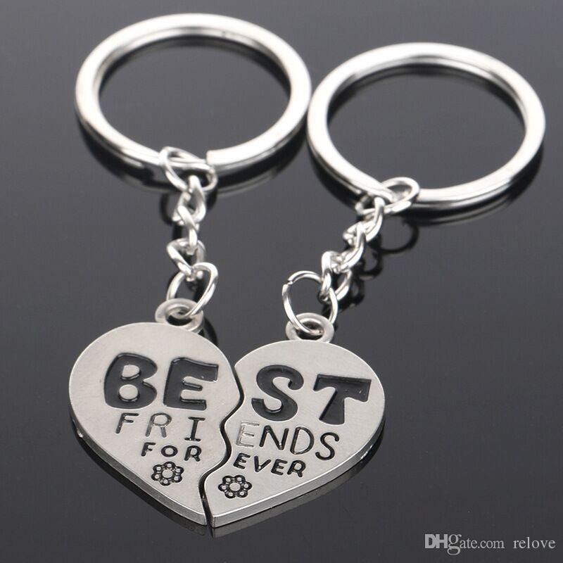 2pcs/set Love Heart BEST FRIENDS Pendant Keychain Key Chain Keyring Gift for friends wholesale free shipping