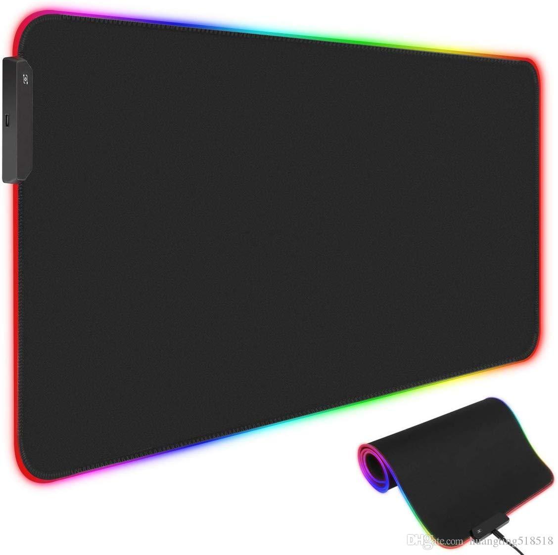 RGB ماوس الألعاب بساط الوسادة، الموسعة بقيادة ماوس الفأر مع 10 RGB الإضاءة وسائط، عدم الانزلاق المطاط قاعدة الحاسوب وسادة لوحة المفاتيح (800 * 300 * 4MM)