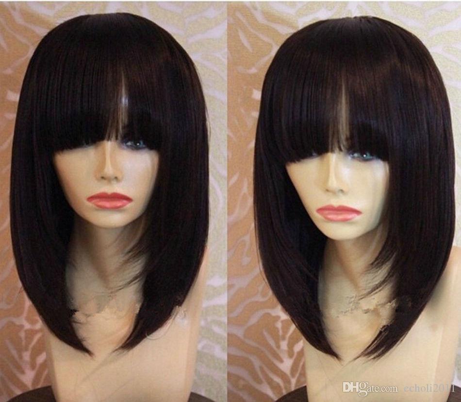 Human Hair Bob Lace Front Wig with Bang For Black Women 180% Density Brazilian Virgin Straight Hair Lace Wig long bob 16