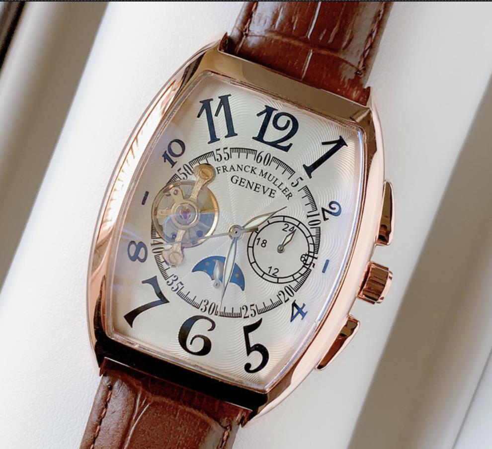 Guarda Top modo di alta qualità grande manopola del cronografo degli uomini automatici dell'orologio della data cinturino in pelle Sport Tourbillon della vigilanza degli uomini di Clock