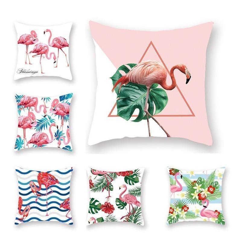 Lance decorativa fronha Verão Flamingo Flor Folha Imprimir fronha de almofada Home Square Pillow Covers 45 * 45 centímetros