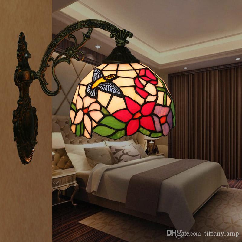 Tiffany Baño luz del espejo de la vendimia americana Balcón del pasillo del pasillo flor del pájaro de cristal Lamparas de Pared Sala de estar dormitorio de la lámpara