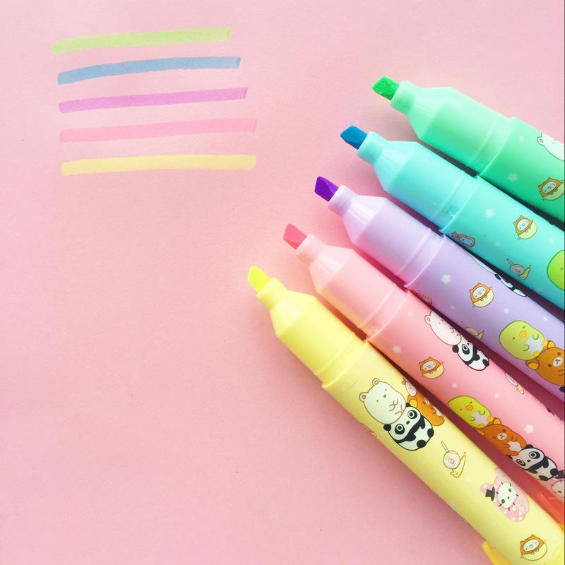 Cute animal color highlighter pen Cartoon Sumikko gurashi Panda marker pens Stationary Office School supplies 6set/Lot