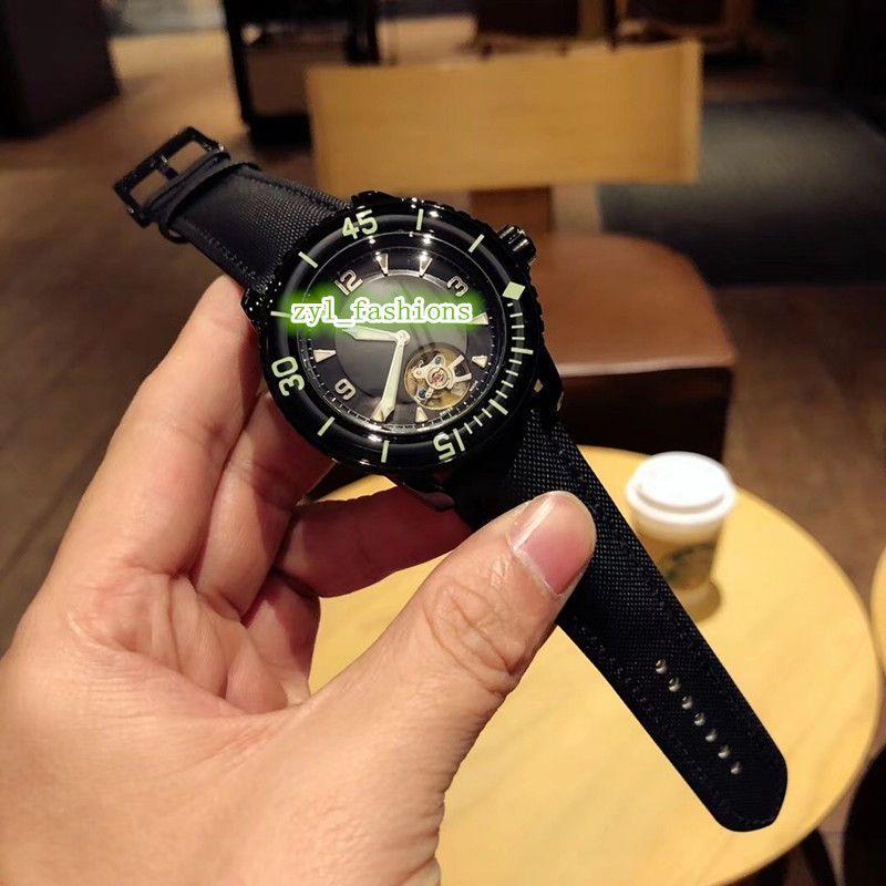 Black Face Watch мужские деловые спортивные часы с маховиком, часы с нейлоновым ремешком, автоматические механические наручные часы
