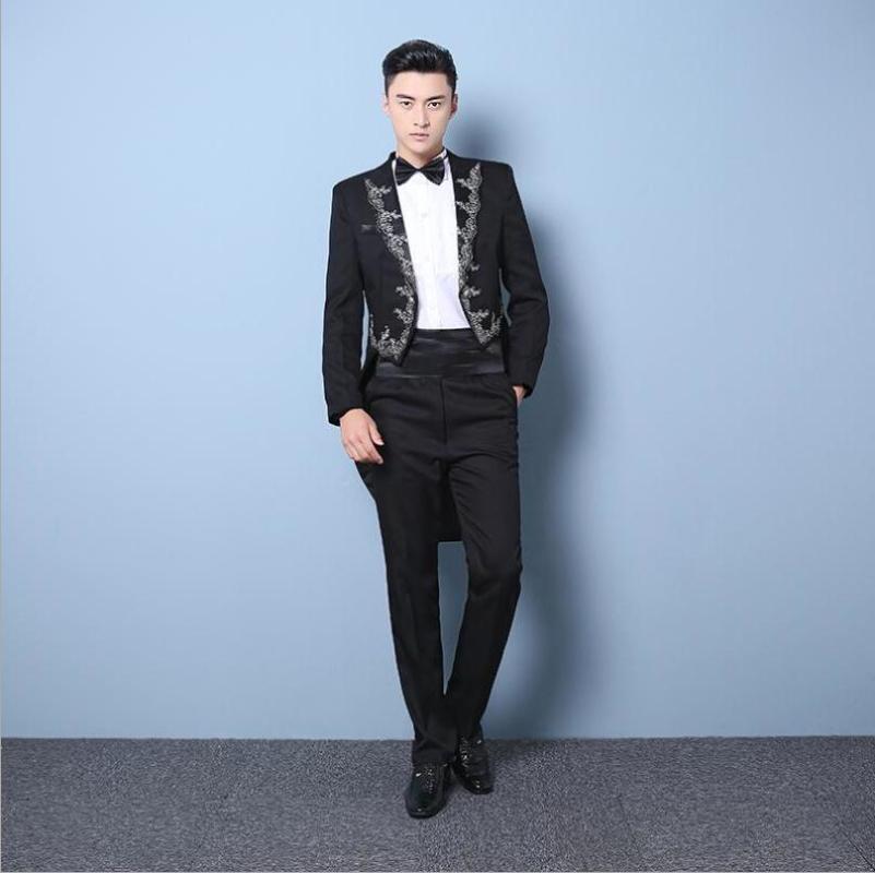 Coreano Moda Bordados de Nova Men smoking Magro Blazers terno Homens fase traje do noivo do casamento Anfitrião vestido realizando S-XXL