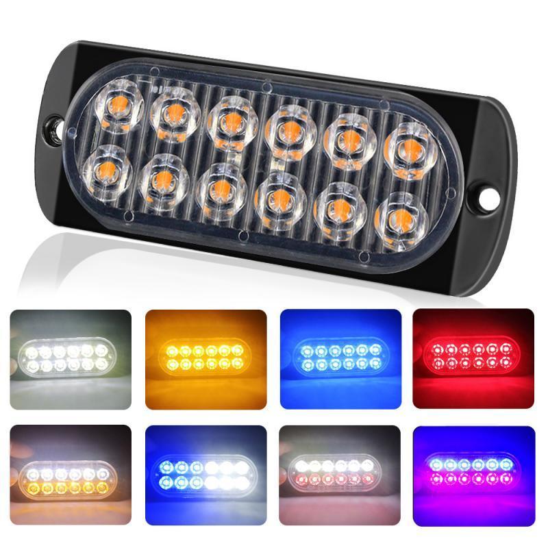 Flash LED ámbar de 12 camiones de coches baliza de emergencia de advertencia de peligro de luz estroboscópica Bares ultrafina Advertencia lateral de luz brillante de coches