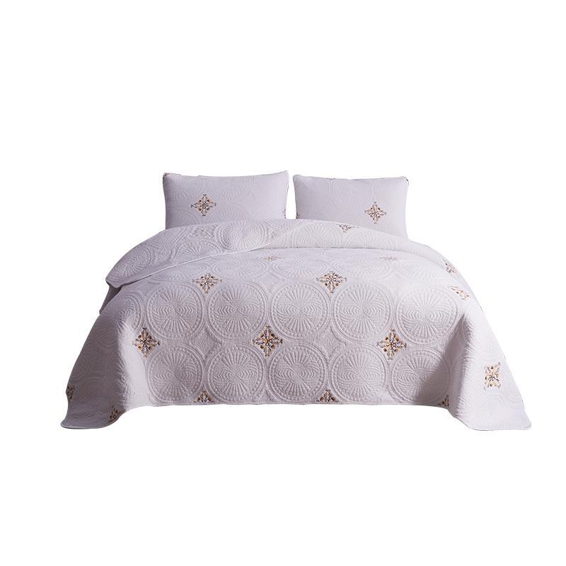 Lenzuola bianche di cotone da ricamo Copriletto Copriletto trapuntato Quilts casa Bedding Set Coperte KingSize MattressTopper Quilted Patchwork Quilt