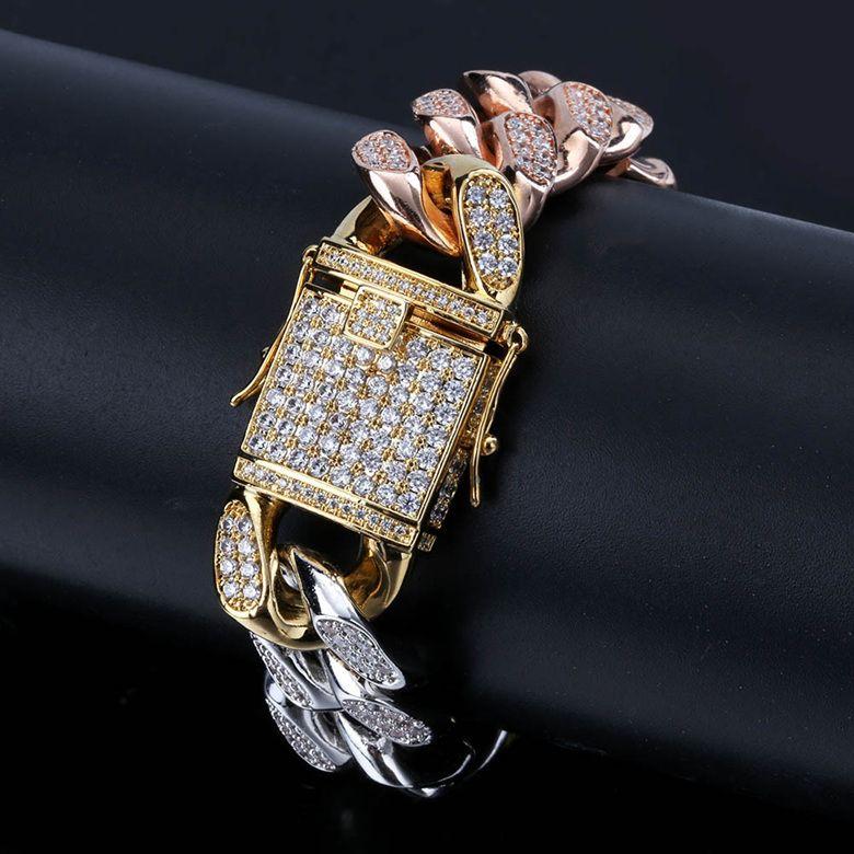 Fashion Bracelets Jewelry Luxury Exquisite Grade Quality Zirconia Micro Paved Chain Bracelets 3 Colors Gold Plated Hip Hop Bracelets LBR072