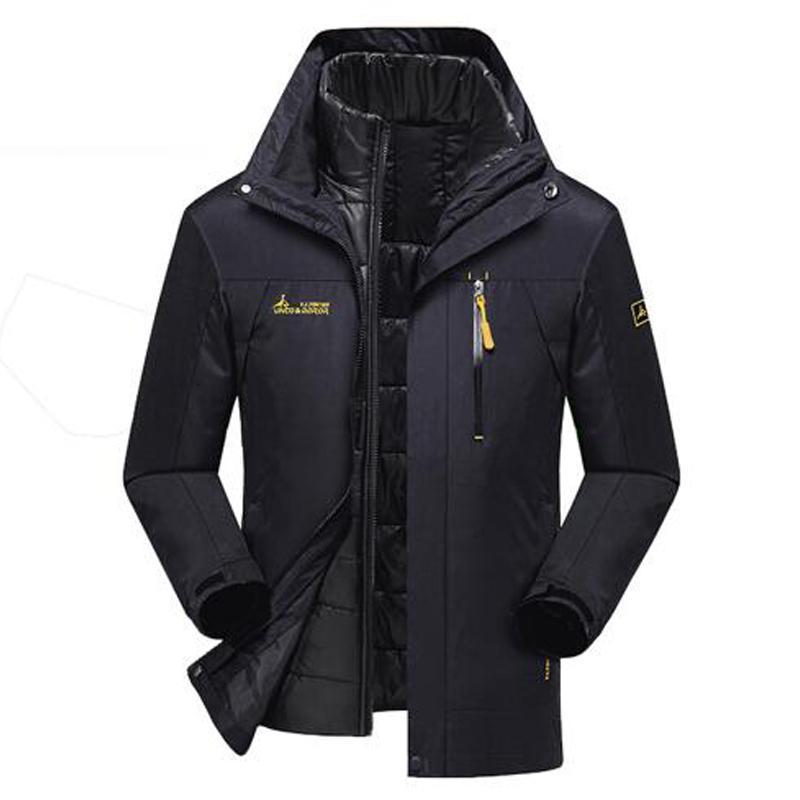 Winter Parka Men Warm Outwear Jacke Herren Windjacke Wasserdichte Jacken Fleece Samt mit Kapuze Mäntel Plus Size 6XL 2 Jacken In 1 MX191121