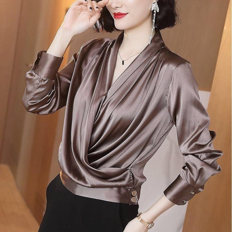 Fall Spring 2020 Female Womens Deep V Neck Long Sleeve Imitation Silk Loose Top Shirt Blouse , Woman Korean Blouses Tops