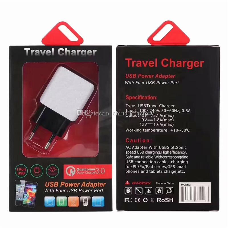 настенное зарядное устройство Quick Us Ac home power adapter 5V 2.5 A 9V 1.8 A Qc 2.0 адаптер для iphone с розничной коробкой
