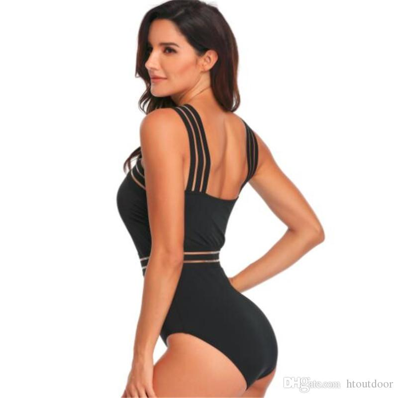 e911300a010b2 ... Womens One Piece Backless Swimsuits Tummy Control Hollow Sexy Swimwear  Bikinis Athletic Training Slimming Bathing Suits ...