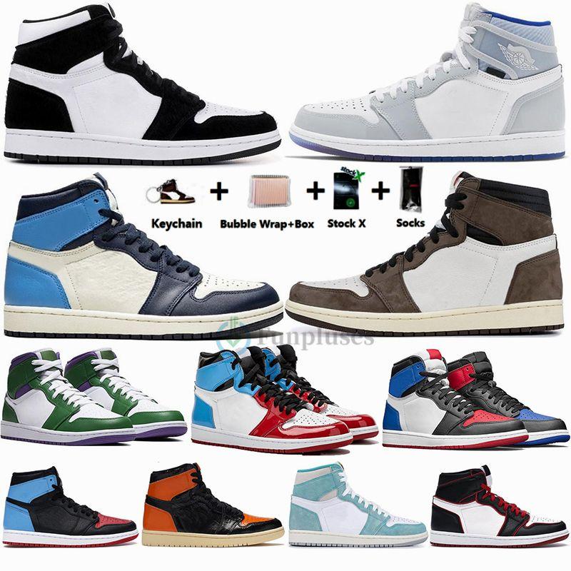 Nike Air Jordan Retro 1 Grande taille 13 avec la boîte 1s Travis Scotts Zoom Racer UNC Chaussures de basket-ball Hommes sans Peur Jumpman Formateurs Designer Sport Sneaker