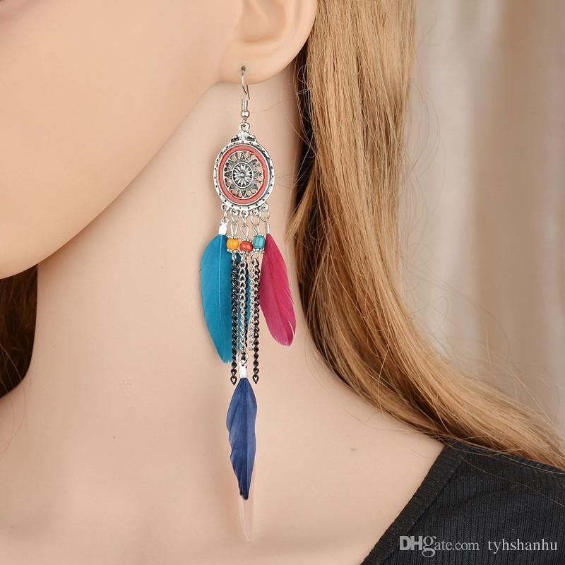 Ретро Bohemian этнического стиля ювелирных изделия Дамы Полая Длинный Пункт Перья кисточка кулон серьга для женщин E1471