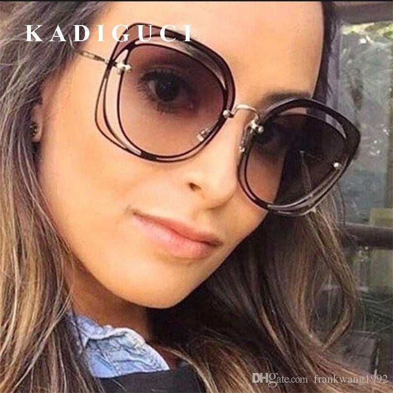 Kadiguci أنيقة مثير بدون شفة النظارات النساء الكلاسيكية العلامة التجارية مصمم انقطاع المعادن النظارات الإناث النظارات oculos دي سول K322
