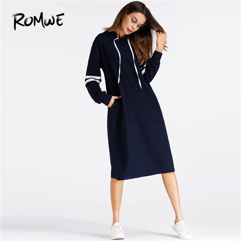 Romwe Navy Pocket Varsity Striped Hoodie Dress Women Casual 2019 Autumn Hooded Long Sleeve Clothing Knee Length Sweatshirt Dress T4190610