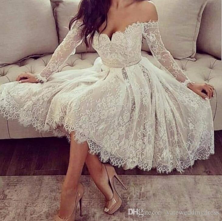 Simple Lace Short Wedding Dresses 2019 Summer Sexy Off Shoulder Long Sleeves Bridal Gowns Cheap Beach Wedding Dress