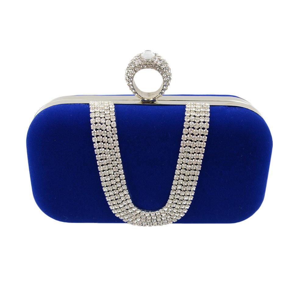 Luxury Borse Velour Borse Velvet sera Diamante Bridal Wedding frizione borsa con i sacchetti di spalla di cristallo di modo per le donne