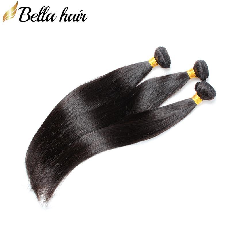"""Bellahair 인간의 머리 짜기 3pcs 브라질 인간의 버진 헤어 확장 Weft Silky 스트레이트 번들 처리되지 않은 머리카락 더블 Weft 8 """"-30"""""""