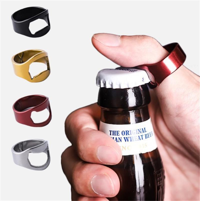 Портативный палец кольцо Открывалка для бутылок Красочные нержавеющей стали пивной бар Инструмент Bottel Благоприятная для вечеринок Кухонные инструменты Подарки 5 цветов E3411