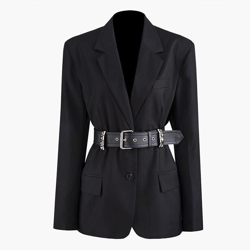 TOP Trend Лето 2020 Одежда для женщин Trend Зрительные Клепка Nail талии пряжки Костюм женский Slim Fit Coat