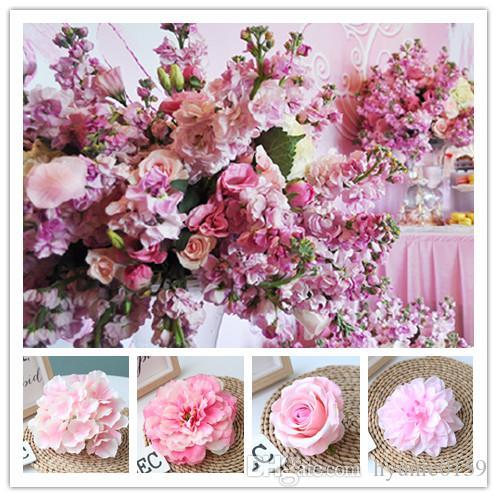 핑크 컬러 인공 꽃 머리 웨딩 장식 장미 모란 수국 식물 꽃다발 웨딩 장식 DIY 홈 파티 가짜 꽃