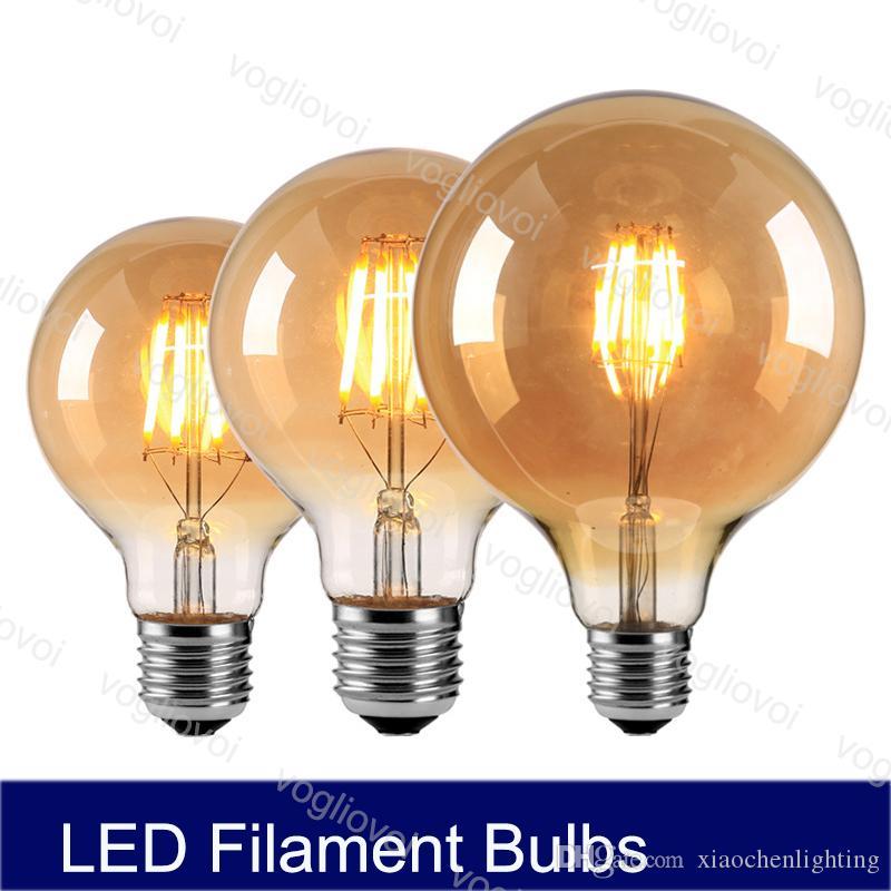 Светодиодные лампы Нет Диммируемый Чай стекло 4W 6W 8W ретро Эдисон G80 95 125 E27 Для хрустальных люстр Подвеска напольных светильников DHL