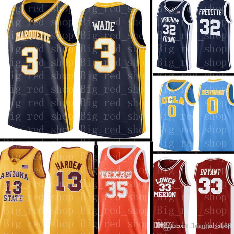 сшитые НКАА Джерси 3 Дуэйн Уэйд баскетбол кофта мужские НКАА университет дешевые Джерси, вышивка логотипов