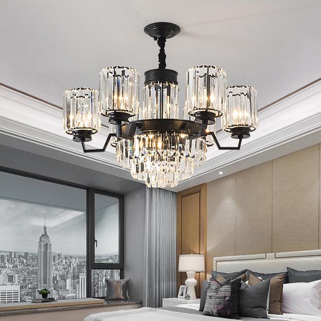 Yeni tasarım klasik siyah kristal avize ışığı Amerikan kırsal lüks kolye avize oda yatak odası çalışma odası yaşamak için aydınlatma led