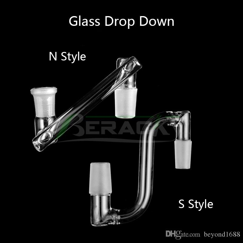 Straight Parallel Glass Drop Down Adapter 14mm 18mm Male Female Dropdown Adapters For Quartz Banger Smoking Water Pipe Oil Dab Rigs Bongs