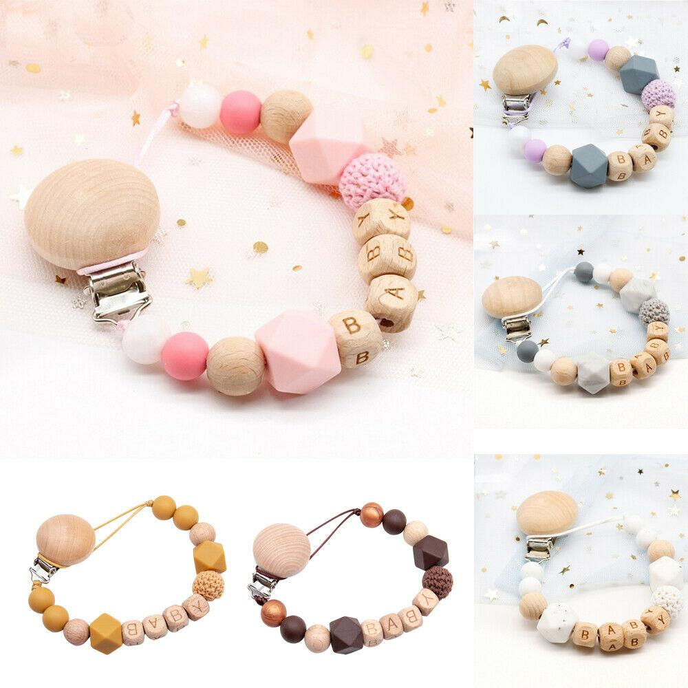 1X safety Wooden Baby Pacifier clip Food grade silicone bead Teething Chain Toys