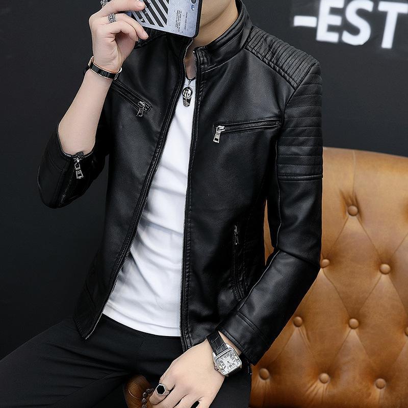 2019 Nouveau style Veste Veste en cuir pour hommes, plus velours PU cuir style coréen Slim Fit hommes Manteau Porter Mode