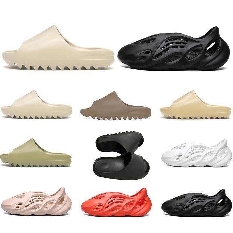 adidas sandals kanye west slayt erkekler kadınlar tasarımcı terlik sandalet Kemik Çölde Kum Reçine üçlü siyah beyaz slaytlar sahil oteli sandalet womens