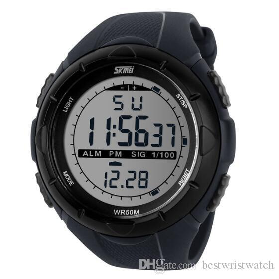 SKMEI Art und Weise beiläufige Uhr-Mann-Frauen Dual Time Sport Chronograph 3bar wasserdichte Quarz-Armbanduhren relogio masculino Montre Femme 1220