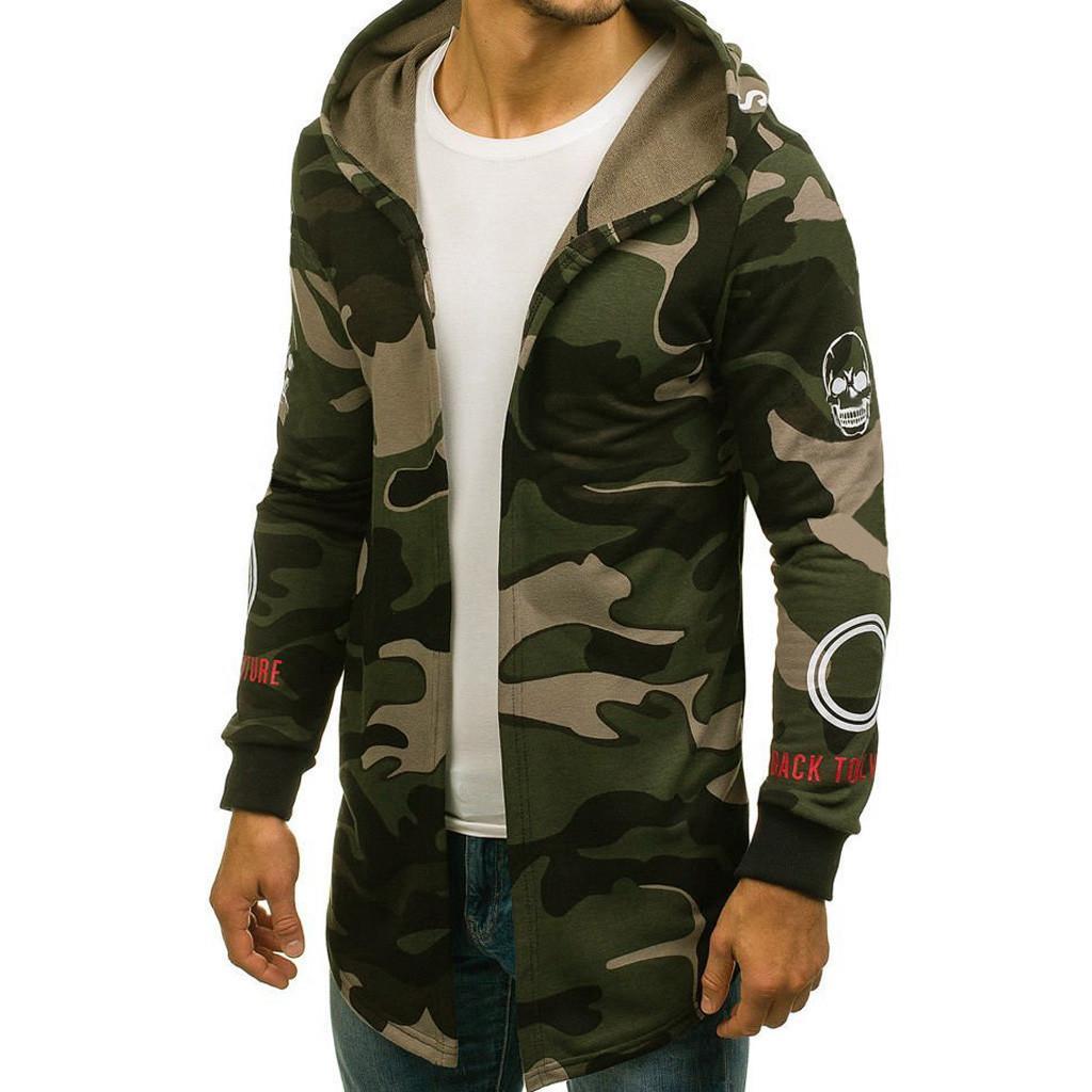 Hombres sudadera abrigo Camuflaje con capucha Gabardina Chaqueta Cárdigan Manga larga Outwear d90808