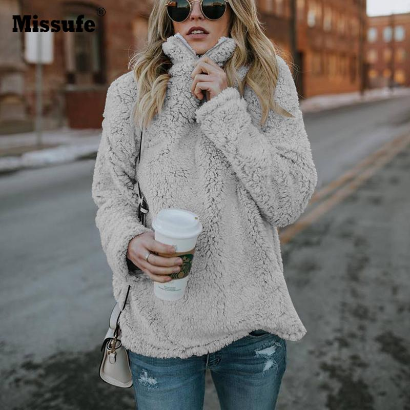 Missufe 2018 Outono Inverno gola camisola manga comprida suave e quente Hoodies capuz solto pelúcia macia com capuz Mulheres V191025